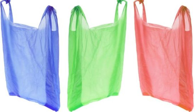 Plastic Shopping Bags on Isolated White Background